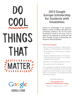 Google Europe Scolarship for Students with Disabilities